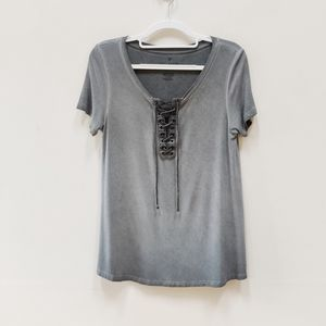 AE| Gray Soft & Sexy Grommet Rope Tie Shirt Small